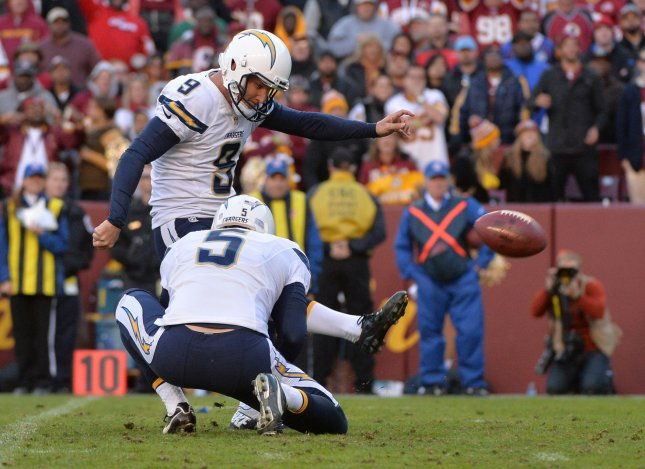 San Diego Chargers kicker Nick Novak kicks a 16-yard field goal during a game against the Washington Redskins. File photo by Kevin Dietsch/UPI