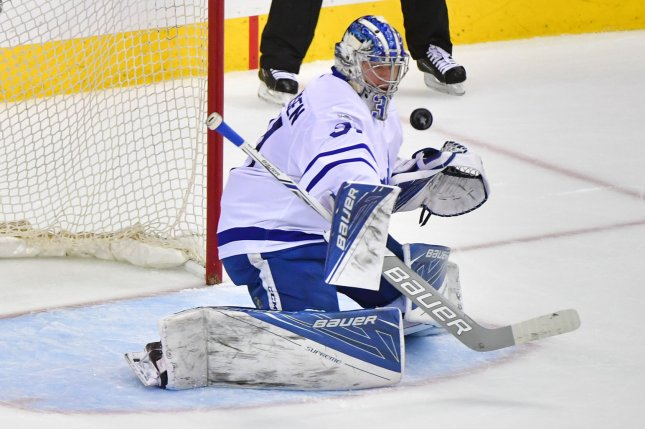 Toronto Maple Leafs goalie Frederik Andersen (31) makes a save. File photo by Kevin Dietsch/UPI
