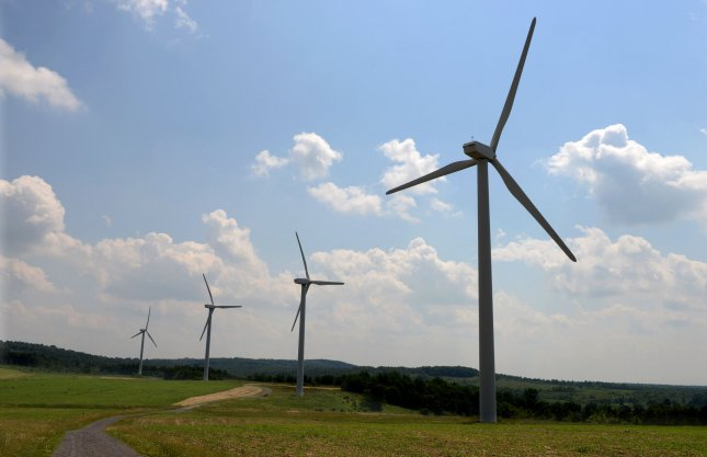 Renewable energy sources, such as wind power, produced more energy than coal for the first time ever in the United States in April. File Photo by Pat Benic/UPI