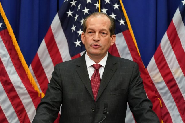 Labor Secretary Alex Acosta speaks at a press conference at the Department of Labor in Washington, D.C., on Wednesday. Photo by Alex Edelman/UPI