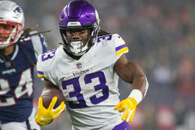 Minnesota Vikings running back Dalvin Cook (33) lands at No. 2 in my Week 1 fantasy football running back rankings. File Photo by Matthew Healey/UPI