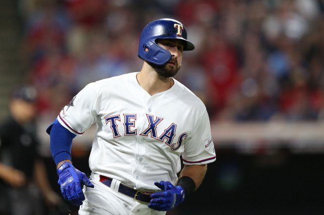 Texas Rangers outfielder Joey Gallo, shown July 9, 2019, ranks sixth in the American League with 25 home runs this season. File Photo by Aaron Josefczyk/UPI