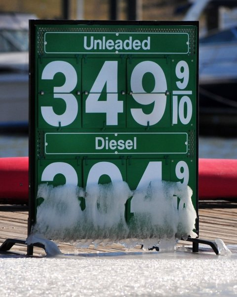 A sign displaying gas prices covered in ice is seen at the National Harbor in Maryland on December 24, 2010. The national average price for a gallon of gas is above $3 for the first time since 2008 and is the highest ever for the holiday season. UPI/Kevin Dietsch