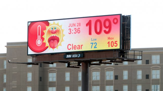 A billboard along Highway 64/40 gives motorists the bad news about the record setting temperatures in St. Louis on June 28, 2012. Today's temperatures break the record of 104 in 1952 and the 109 degrees is the hottest day ever in June in St. Louis. UPI/Bill Greenblatt