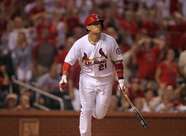 Allen Craig, shown in a game Aug. 26, was added to the 25-man roster of the St. Louis Cardinals ahead of Wednesday's start of the World Series in Boston. UPI/Bill Greenblatt
