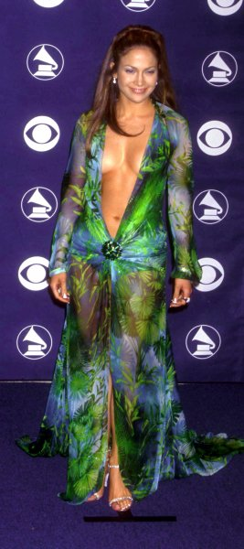 LAP2000022412 - 24 FEBRUARY 2000 - LOS ANGELES, CALIFORNIA, USA:Jennifer Lopez poses for photographers after the Grammy Awards ceremony February 23 in Los Angeles. UPI rw/Laura Cavanaugh.