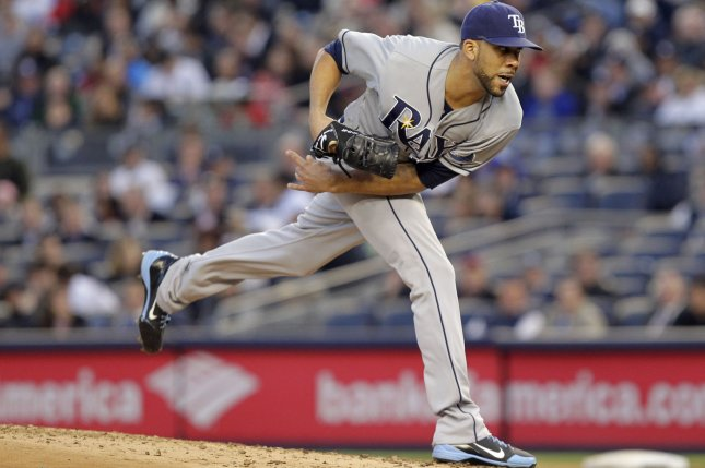 Tampa Bay Rays starting pitcher David Price throws a pitch in the second inning against the New York Yankees at Yankee Stadium in New York City on May 10, 2012. UPI/John Angelillo