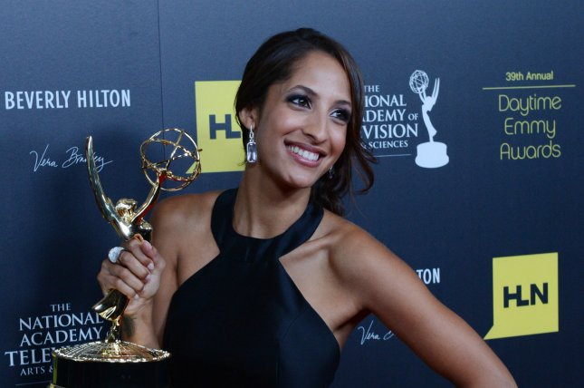 Christel Khalil appears backstage with the Outstanding Younger Actress in a Drama award she won for The Young and the Restless at the 39th annual Daytime Emmy Awards in Beverly Hills on June 23, 2012. File photo by Jim Ruymen/UPI