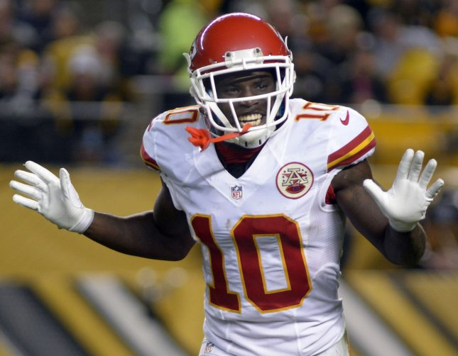 Kansas City Chiefs Chiefs TE Tyreek Hill caught 10 passes last week, the most ever by a K.C. rookie. Hill's 32 receptions are the most by any AFC rookie and third among all NFL first-year players. Photo by Archie Carpenter/UPI