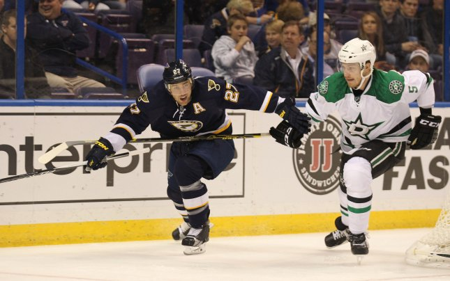Jamie Oleksiak, right, formerly of the Dallas Stars, has been traded to the Pittsburgh Penguins. Photo by Bill Greenblatt/UPI