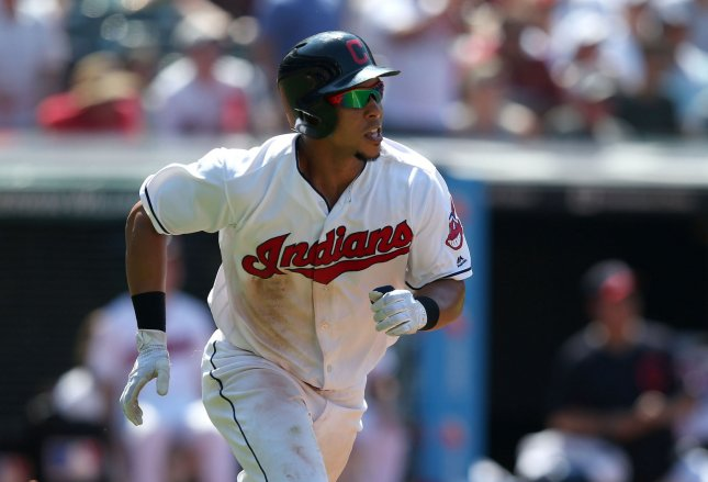 Michael Brantley and the Indians take on the Red Sox on Tuesday. Photo by Aaron Josefczyk/UPI