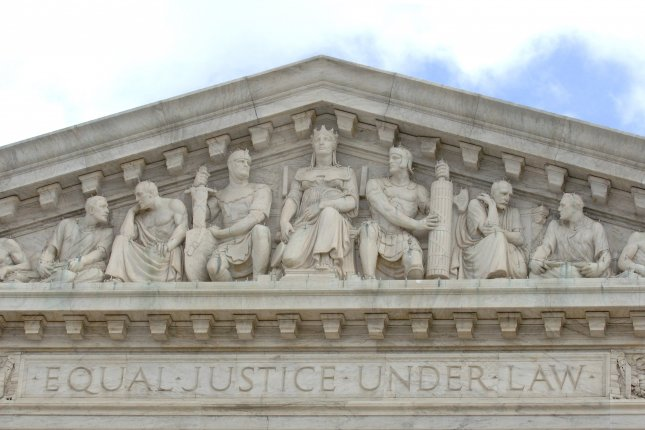 The words Equal Justice Under Law are seen on the facade of the U.S. Supreme Court building in Washington, D.C. File Photo by Kevin Dietsch/UPI