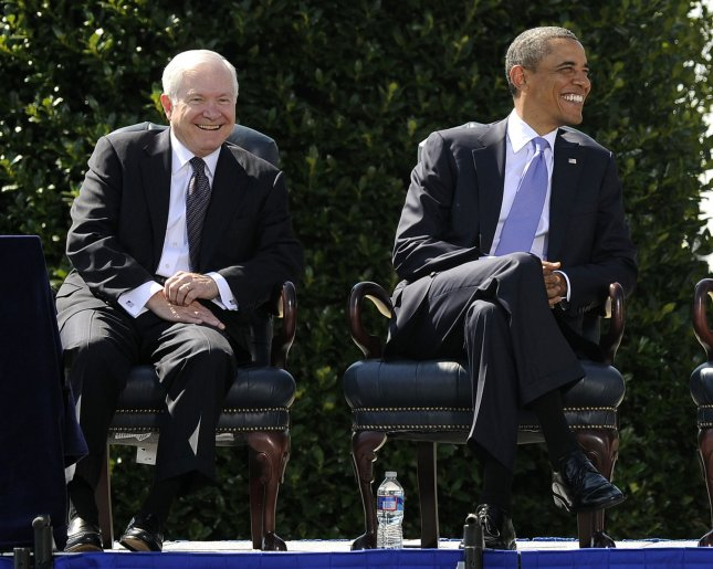 Secretary of Defense Robert Gates and U.S. President Barack Obama participate in Gates' Armed Forces Farewell Ceremony on the Pentagon River Parade Field in Arlington, Virginia, on June 30, 2011. Former CIA Director Leon E. Panetta will become the 23rd Secretary of Defense, replacing Gates on July 1. UPI/Roger L. Wollenberg