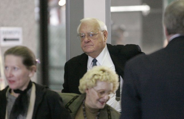 Former Illinois Gov. George Ryan arrives in court to face federal corruption charges, Sept. 28, 2005, in Chicago. Ryan, 79, served five years of a 6 1/2 year sentence in federal prison for corruption, racketeering and fraud.. (UPI Photo/Brian Kersey)