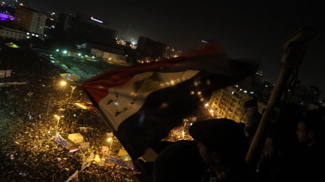 Egyptians gather in Tahrir Square to mark the one-year anniversary of the uprising that ousted President Hosni Mubarak in Cairo, Egypt, Wednesday, January 25, 2012. People returned to Tahrir Square Friday to protest the pace of government reform. UPI/Ahmed Gomaa