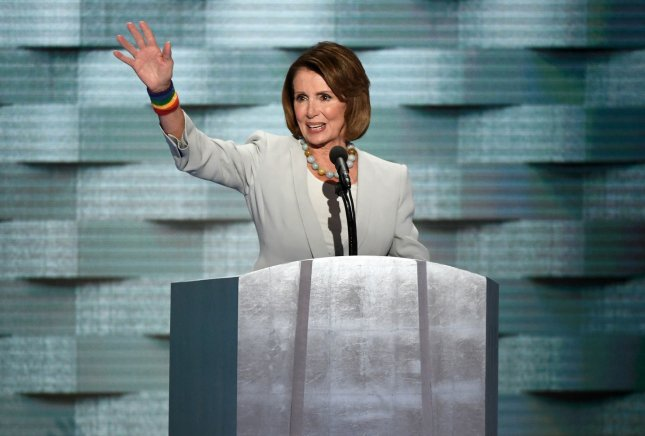 House Minority Leader Nancy Pelosi , shown here at the Democratic National Convention in July, said Wednesday her party has an advantage in down ballot races. File Photo by Pat Benic/UPI