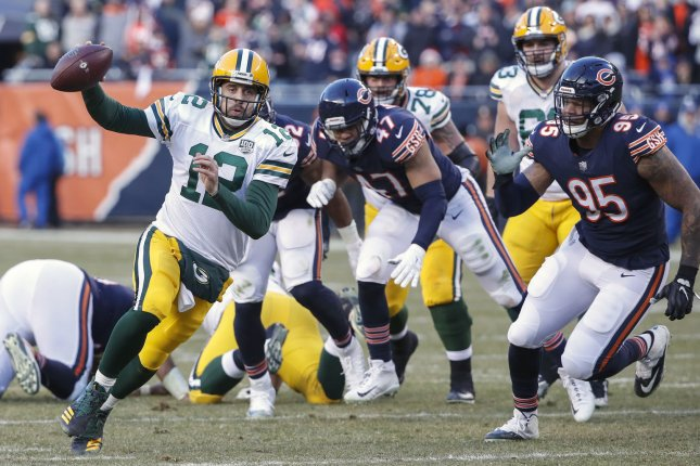 Green Bay Packers quarterback Aaron Rodgers scrambles during a game against Chicago Bears at Soldier Field on December 16, 2018. Photo by Kamil Krzaczynski/UPI