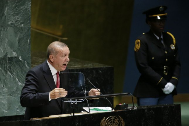 Turkey President Tayyip Erdogan, shown here speaking at the United Nations in September, said this week his country is prepared to fight Kurdish fighters in northern Syria. Photo by John Angelillo/UPI