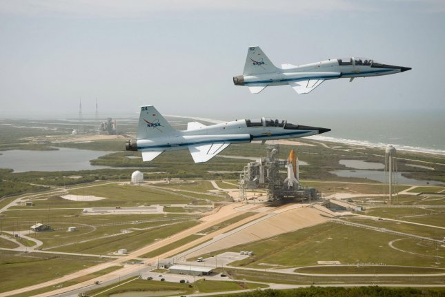 Two T-38 Talon jets, similar to the ones pictured, crashed Thursday in Oklahoma. File Photo by Robert Markowitz/NASA