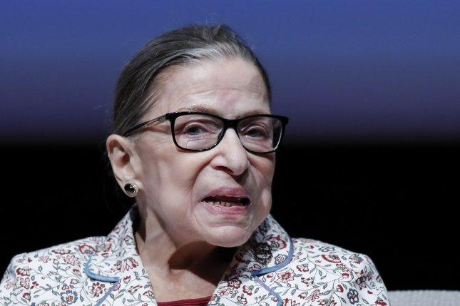 U.S. Supreme Court Justice Ruth Bader Ginsburg was released from a Baltimore hospital on Sunday after experiencing chills and a fever. Photo by Kamil Krzaczynski/UPI