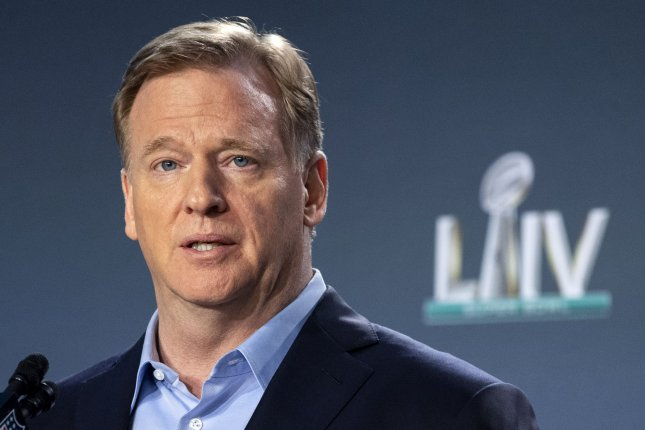In his statement Friday, NFL commissioner Roger Goodell encouraged all players to speak out and peacefully protest. File Photo by Kevin Dietsch/UPI