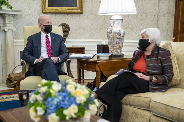 President Joe Biden participates in an economic briefing with Secretary of Treasury Janet Yellen in the Oval Office of the White House on Friday. Photo by Shawn Thew/UPI