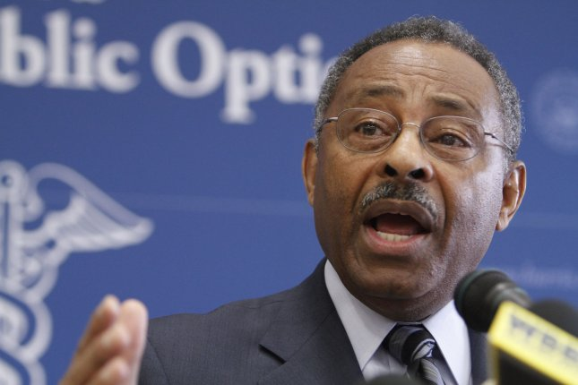Sen. Roland Burris (D-IL) speaks at a news conference at Stroger Hospital in Chicago on November 2, 2009. Burris stated his support for a strong public option. UPI/Brian Kersey