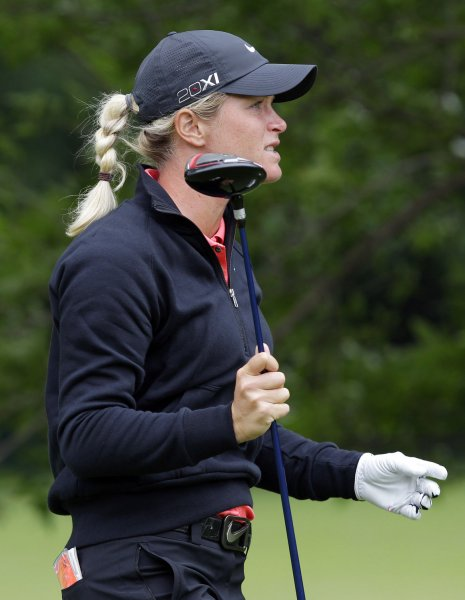 Suzann Pettersen, shown in a June 2011 file photo, climbs to No. 5 this week in the world women's golf rankings. UPI/John Angelillo