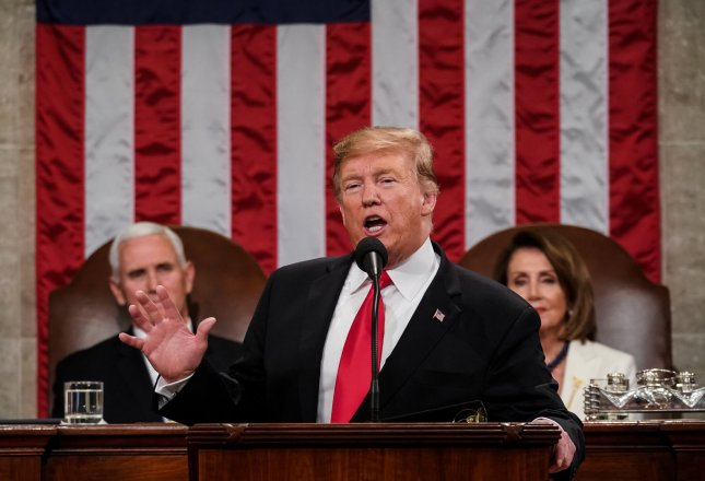 President Donald Trump delivers his State of the Union address Tuesday night at the U.S. Capitol in Washington, D.C. Photo by Doug Mills/UPI