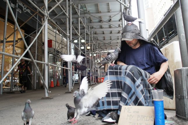 A man feeds the pigeons while sitting on 5th Avenue in New York City in this July 2019 photo. The U.S. Department of Housing and Development has reported homelessness increased by 2.7 between 2018 and 2019. Photo by John Angelillo/UPI