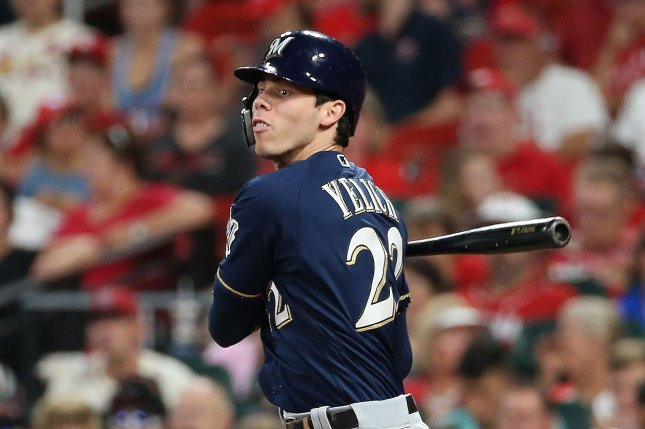 Milwaukee Brewers star outfielder Christian Yelich captured his second straight National League batting title last season. File Photo by Bill Greenblatt/UPI