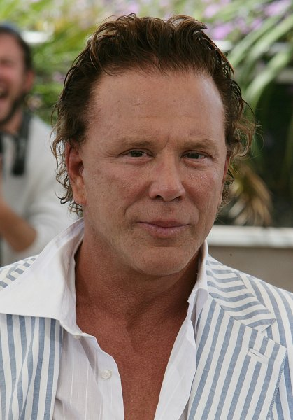 Mickey Rourke arrives for the photocall of his new movie Sin City at the 58th Cannes film festival on Wednesdaty April 18 2005. (UPI Photo/Hugo Philpott)