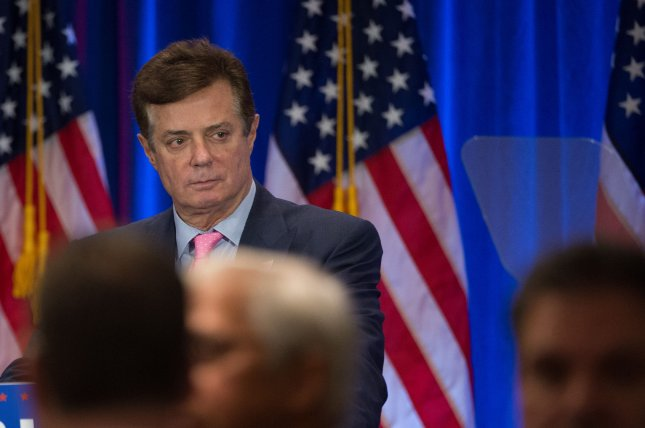 Former Trump campaign chairman Paul Manafort looks over the teleprompter before Republican candidate for President Donald Trump speaks at Trump Soho Hotel in New York City on June 22, 2016. The Senate committee investigating Russian collusion dropped a subpoena to compel Manafort to testify about alleged Russian ties. File Photo by Bryan R. Smith/UPI