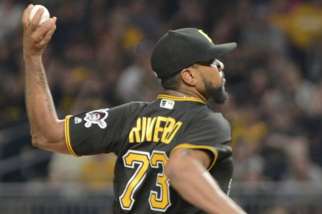 Pittsburgh Pirates relief pitcher Felipe Rivero (73) throws in the ninth inning of the Pittsburgh Pirates 4-3 win against the Milwaukee Brewers at PNC Park on July 18, 2017 in Pittsburgh. Photo by Archie Carpenter/UPI