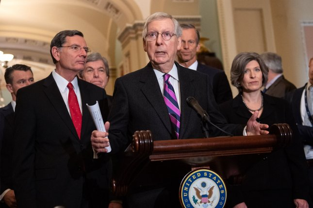 Senate Majority Leader Mitch McConnell speaks to reporters on Capitol Hill in Washington, D.C., on Wednesday. Photo by Kevin Dietsch/UPI