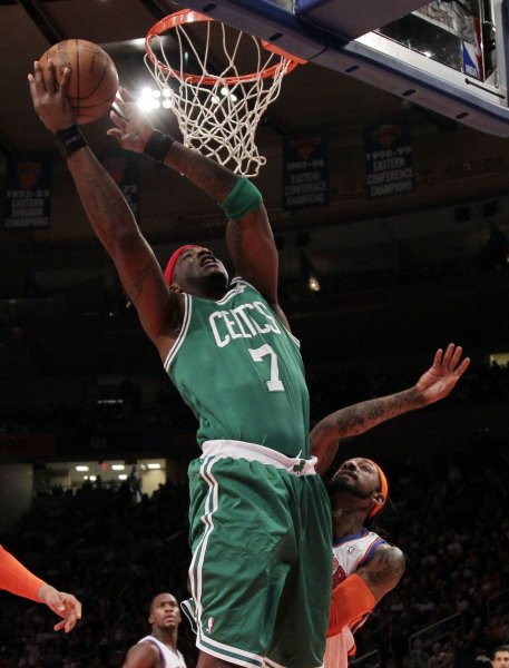 Jermaine O'Neal (7), shown in a game last December when he was with the Boston Celtics, has signed a contract with the Phoenix Suns, the team announced Wednesday. UPI/John Angelillo