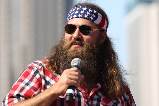 A & E Television's Duck Dynasty star Willie Robertson speaks to the crowd at Busch Stadium during Christian Day at the Ballpark in St. Louis on July 7, 2013. UPI/Bill Greenblatt