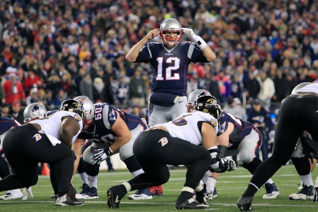 New England Patriots quarterback Tom Brady (12) calls a play on the line of scrimmage in the second quarter against the Baltimore Ravens at Gillette Stadium in Foxborough, Massachusetts on December 12, 2016. The Patriots defeated the Ravens 30-23. Photo by Matthew Healey/ UPI