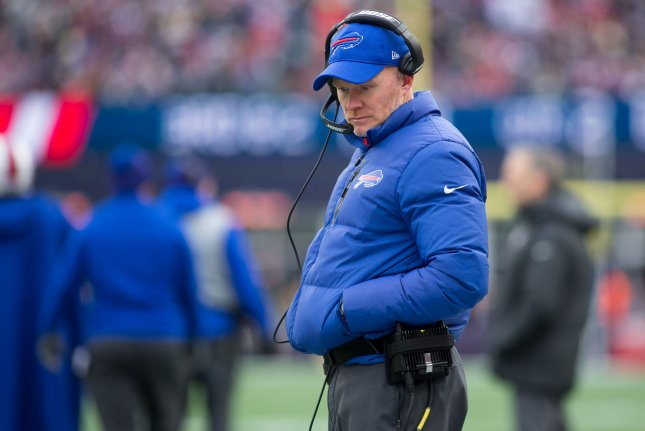 Buffalo Bills head coach Sean McDermott walks the sideline during a break as they take on the New England Patriots on December 24, 2017 at Gillette Stadium in Foxborough, Massachusetts. Photo by Matthew Healey/UPI