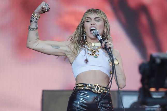Miley Cyrus has canceled her Friday benefit concert in Australia. File Photo by Hugo Philpott/UPI