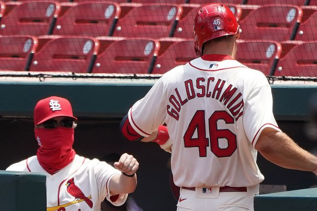 The St. Louis Cardinals-Milwaukee Brewers game Friday in Milwaukee was postponed due to two positive Cards' player results for the coronavirus. File Photo by Bill Greenblatt/UPI