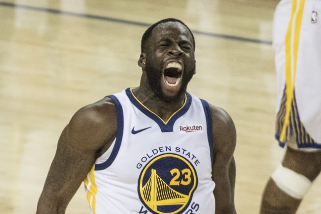 Golden State Warriors forward Draymond Green received two late technical fouls during Saturday's game against the Charlotte Hornets, resulting in his ejection. File Photo by Terry Schmitt/UPI