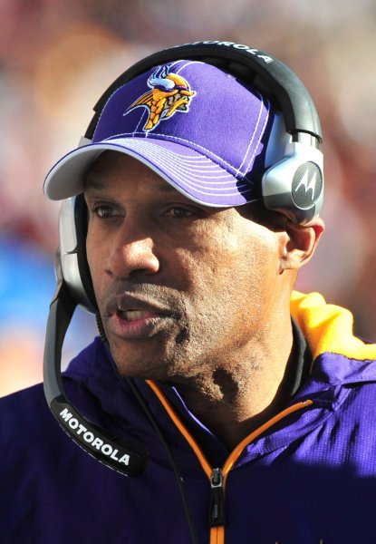 Minnesota Vikings head coach Leslie Frazier leads his team against the Washington Redskins at FedEx Field in Landover, Maryland on November 28, 2010. UPI/Kevin Dietsch