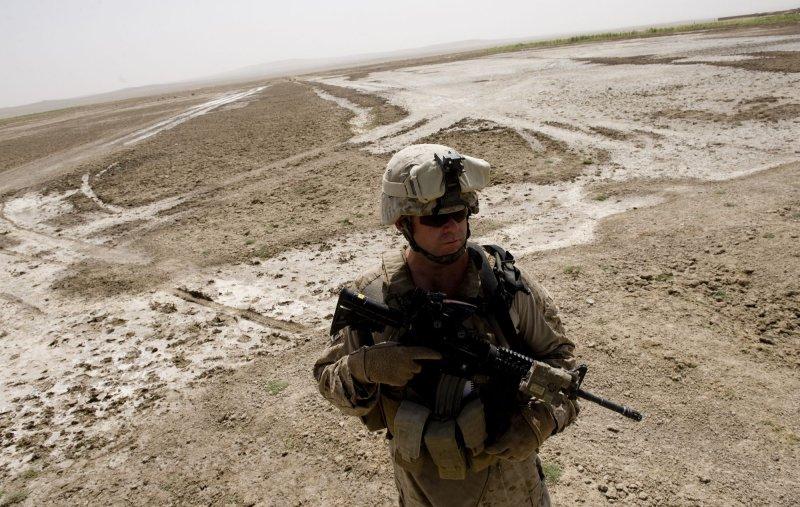 An U.S. Marine participates in a security patrol in Gorgak district of Helmand province of Afghanistan. File/UPI/Hossein Fatemi