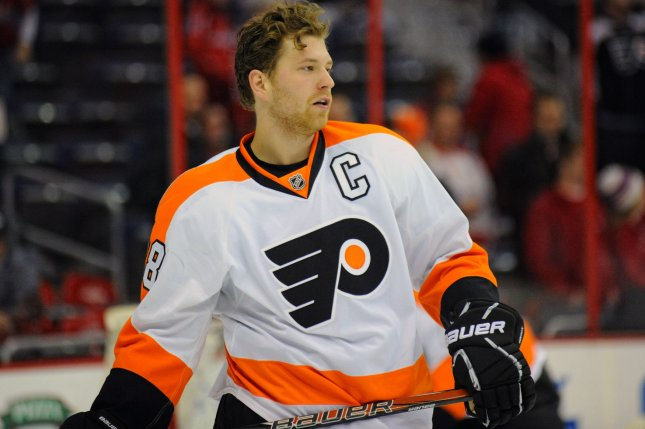 Philadelphia Flyers captain Claude Giroux at the Verizon Center in Washington, Feb. 1, 2013. UPI/Mark Goldman