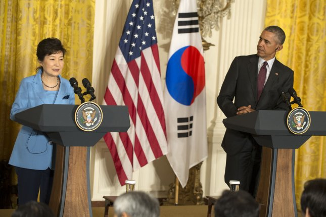 South Korean President Park Geun-hye makes a point during a joint press conference with U.S. President Barack Obama in the East Room of the White House on Oct. 16. Former NSA contractor Edward Snowden said Friday classified South Korea information is being shared with a massive spy network that includes the United States. Photo by Pat Benic/UPI