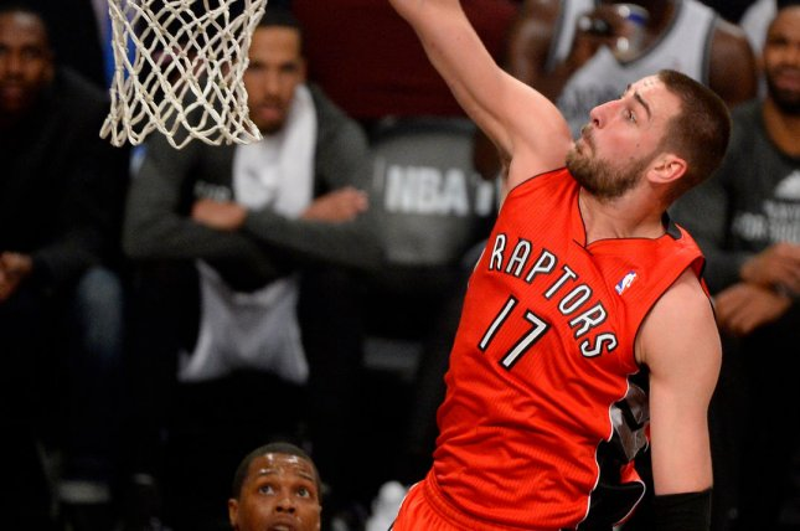 Toronto Raptors center Jonas Valanciunas (17). UPI/Rich Kane