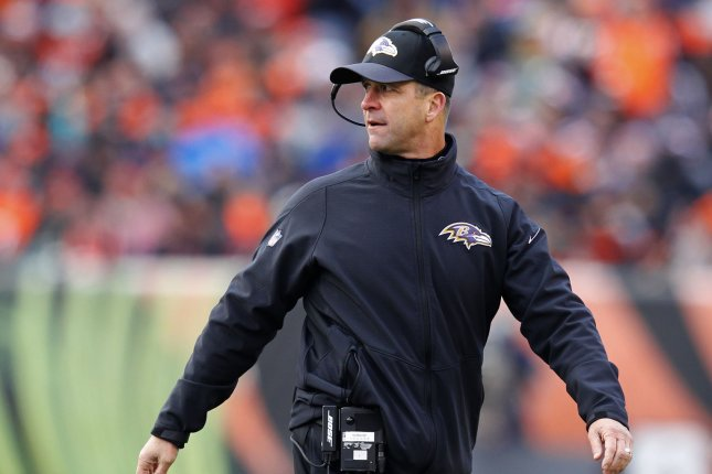 Baltimore Ravens head coach John Harbaugh reacts to a call by the official during the second half of play against the Cincinnati Bengals at Paul Brown Stadium in Cincinnati, Ohio, January 3, 2016. Photo by John Sommers II/UPI