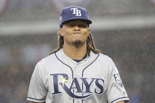 Tampa Bay Rays starting pitcher Chris Archer reacts as he walks off of the mound after the second inning against New York Yankees on Tuesday in the Yankees home opener at Yankee Stadium in New York City. Photo by John Angelillo/UPI