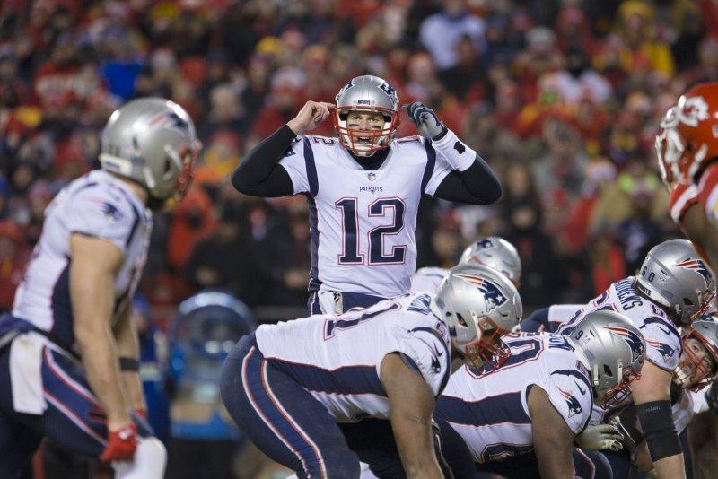 New England Patriots quarterback Tom Brady (12) calls an audible in the fourth quarter of the AFC Championship on Sunday at Arrowhead Stadium in Kansas City, Mo. Photo by Kyle Rivas/UPI